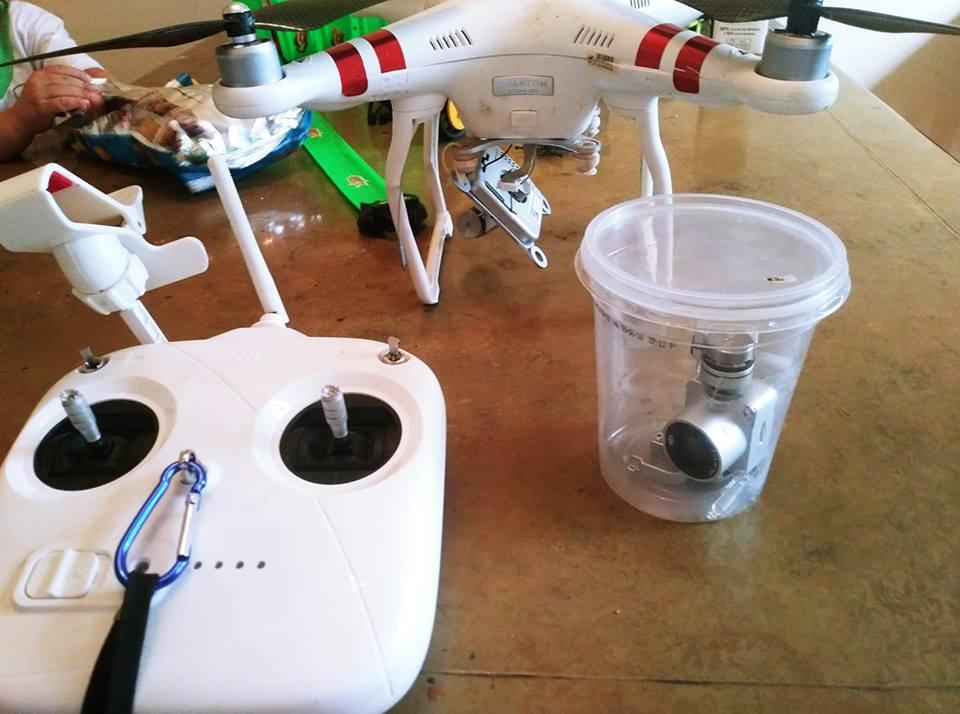 drone com gimbal quebrado