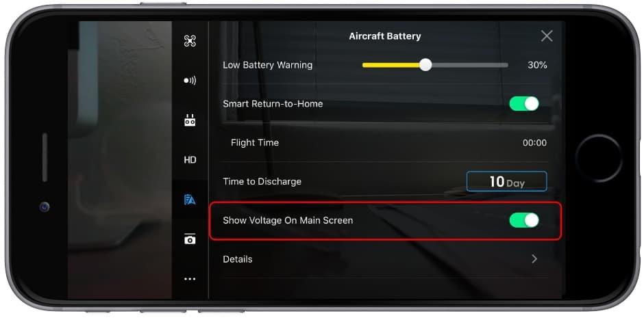 Informações da bateria no app DJI Go 4